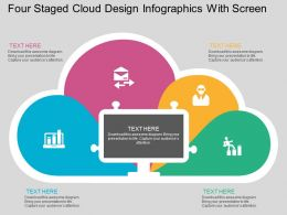tw Four Staged Cloud Design Infographics With Screen Flat Powerpoint Design
