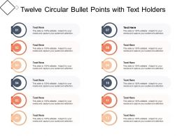 Twelve Circular Bullet Points With Text Holders