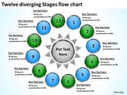 twelve diverging stages flow chart Circular Spoke Diagram PowerPoint Slides