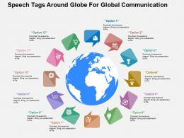 Twelve Speech Tags Around Globe For Global Communication Ppt Presentation Slides
