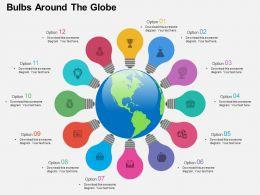 Twelve Staged Bulbs Around The Globe Ppt Presentation Slides