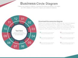 Twelve Staged Business Circle Diagram Powerpoint Slides