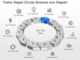 Twelve Staged Circular Business Icon Diagram Powerpoint Template Slide