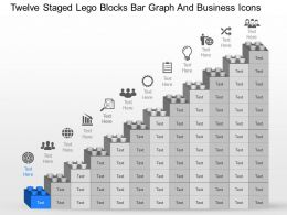 Twelve Staged Lego Blocks Bar Graph And Business Icons Powerpoint Template Slide