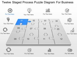 Twelve Staged Process Puzzle Diagram For Business Powerpoint Template Slide