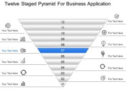 Twelve Staged Pyramid For Business Application Powerpoint Template Slide