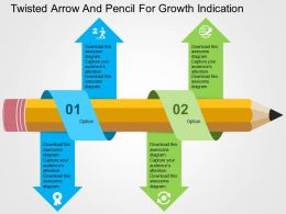 Twisted Arrow And Pencil For Growth Indication Flat Powerpoint Design