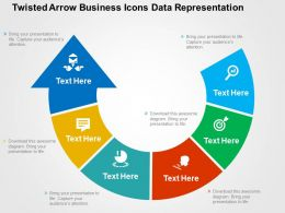 Twisted Arrow Business Icons Data Representation Flat Powerpoint Design