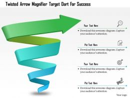 Twisted Arrow Magnifier Target Dart For Success Powerpoint Template