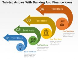 twisted_arrows_with_banking_and_finance_icons_flat_powerpoint_design_Slide01
