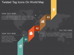 Twisted Tag And Icons On World Map Ppt Presentation Slides