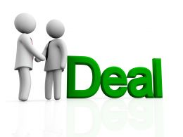 Two 3d Man Making Deal Stock Photo