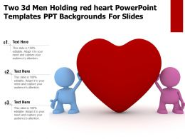 Two 3d Men Holding Red Heart Powerpoint Templates Ppt Backgrounds For Slides