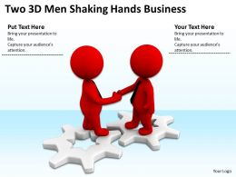 Two 3D Men Shaking Hands Business Ppt Graphics Icons Powerpoint