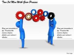 Two 3d Men With Gear Process Ppt Graphics Icons Powerpoint