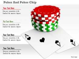 Two Ace Cards With Red Green Poker Chips