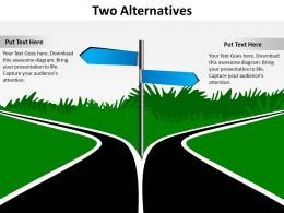 two alternatives road signs diverging to opposite directions to show options powerpoint diagram templates 712