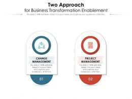 Two Approach For Business Transformation Enablement