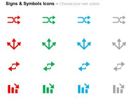 two_arrows_three_directional_arrows_bar_graph_business_growth_ppt_icons_graphics_Slide02