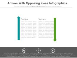 Two Arrows With Opposing Ideas Infographics Powerpoint Slides