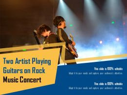 Two Artist Playing Guitars On Rock Music Concert