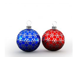 Two Blue And Red Colored Decorative Balls Stock Photo