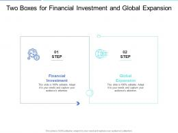 Two Boxes For Financial Investment And Global Expansion