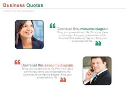 Two Business Peoples With Business Quotes Powerpoint Slides