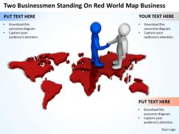Two Businessmen Standing On Red World Map Business Ppt Graphics Icons Powerpoint