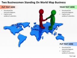 Two Businessmen Standing On World Map Business Ppt Graphics Icons Powerpoint