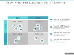 Two By Two Business Evaluation Matrix Ppt Examples