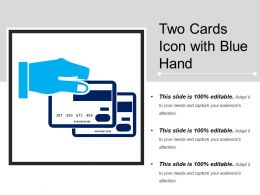Two Cards Icon With Blue Hand