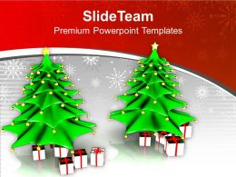 Two Christmas Tree With Gifts Powerpoint Templates Ppt Themes And Graphics 0113