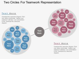 Two Circles For Teamwork Representation Flat Powerpoint Design