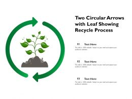 Two Circular Arrows With Leaf Showing Recycle Process