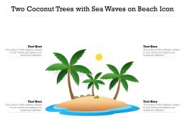 Two Coconut Trees With Sea Waves On Beach Icon