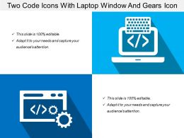 Two Code Icons With Laptop Window And Gears Icon