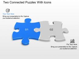 Two Connected Puzzles With Icons Powerpoint Template Slide