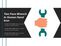 Two Face Wrench In Human Hand Icon