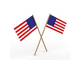 Two Flags Of America Showing Symbol Of Diplomacy Stock Photo