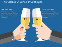 Two Glasses Of Wine For Celebration Flat Powerpoint Design