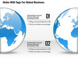 Two Globe With Tags For Global Business Ppt Presentation Slides