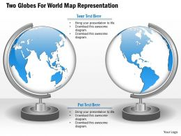 Two Globes For World Map Representation Ppt Presentation Slides