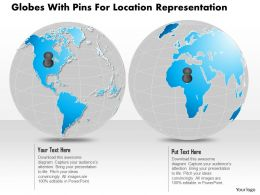 Two Globes With Pins For Location Representation Ppt Presentation Slides