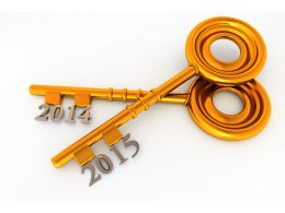 Two Golden Keys With Year 2014 And 2015 Stock Photo