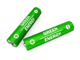 Two Green Energy Cells For Power Consumption Stock Photo