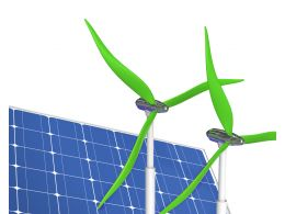 Two Green Windmill Solar Panel Stock Photo