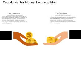 Two Hands For Money Exchange Idea Flat Powerpoint Design