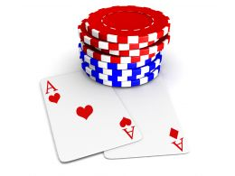 Two Heart Aces With Red And Blue Poker Chips Stock Photo