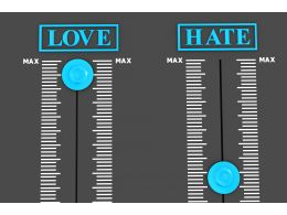 Two Judgement Meters For Love And Hate Stock Photo